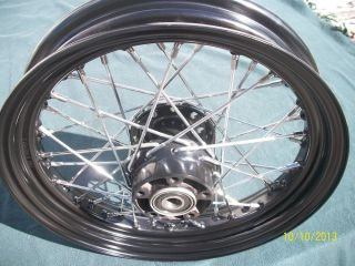 "Black and Chrome Harley 16"" Front Wheel 2000 2006 Softail Dyna"
