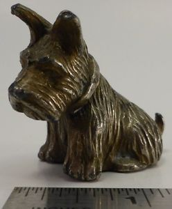 Vintage Metal Miniature Small Scottish Terrier Scotty Dog Figurine Cast