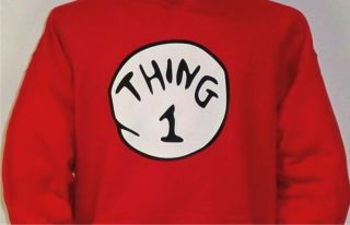 Thing 1 2 3 4 5 6 Dr Seuss Cat in The Hat Halloween Funny Hoodie Red Sweatshirt