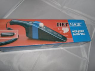 Auto Vac Wet Dry Dirt Magic for Car Plugs Into Cigarette Lighter Black and Blue