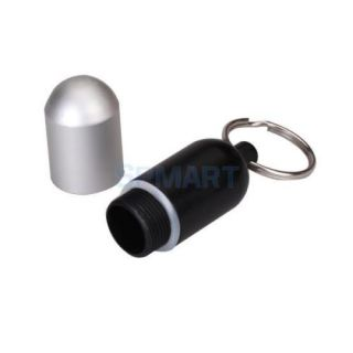 Black Aluminum Pill Box Medicine Case Bottle Holder Container Keychain Organizer