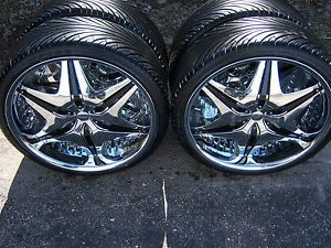 "22"" inch Akuza Big Papi Wheels 5x114 3 with 245 30 22 Tires Black Chrome Rims"