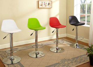 Kings Brand White Chrome Finish Air Lift Adjustable Modern Bar Stool New