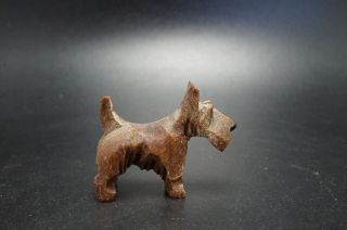 Vtg Wood Carved Scottish Terrier Dog Miniature