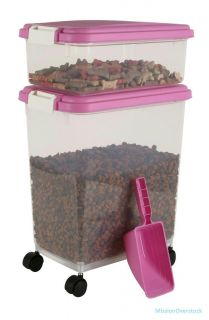 Iris Airtight Pet Food Container Combo Kit Pink White
