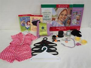 American Girl Accessories Set Felicity Books Pajamas Coconut Pet Dog Costume Lot