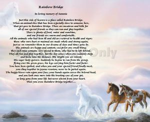Rainbow Bridge Poem Loss of Pet Personalized Dog Cat Animal Horse Memorial