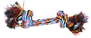 "Two Knots Braided Colorful Pet Dog Chew Tug Rope Bone Toy 9"" Long Medium"