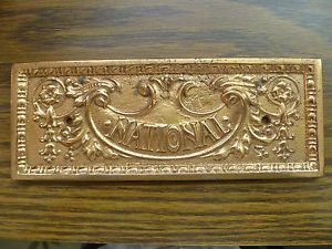 Antique Brass Bronze National Cash Register Drawer Front Small Machine Plaque