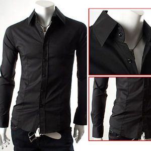 Men's Casual Slim Fit Stylish Dress Shirts in s M L XL Black White Red Blue New
