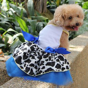 Cowgirl Jessie Costume Blue Tutu Small Pet Dog Cat Clothes Dress Halloween M