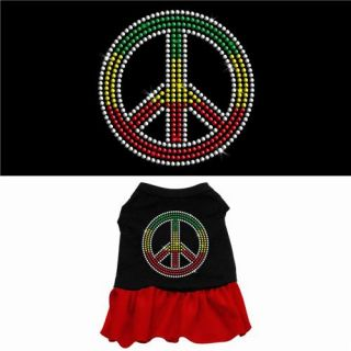 Dog Pet Puppy Rasta Peace Sign Apparel Costume Rhinestone Jeweled Skirt Clothes