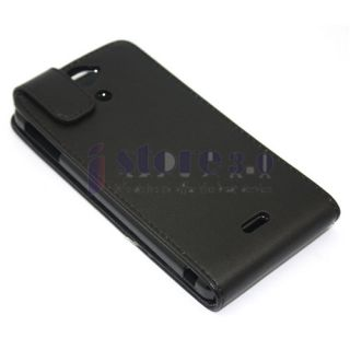 Black Flip PU Leather Case Cover Pouch for Sony Xperia V LT25I