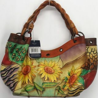 Anuschka Sz Extra Large Hand Painted Leather Hobo Handbag Sunflower Multi Color