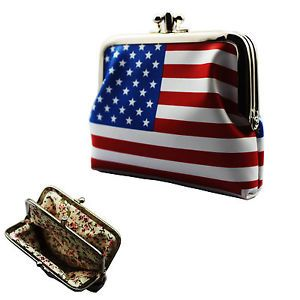 USA American Flag Sign Leather Name Card Money Bag Coin Purse Wallet Pouch Purse
