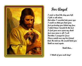 Dog Memorial Dachshund Jesus Poem Personalized with Name Unique Pet Loss Gift