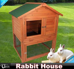 SV Mall New Deluxe Wooden Rabbit House Wood Rabbit Hutch Little Pet Safety Cage