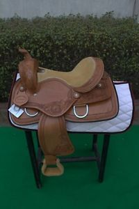 "Western Natural Barrel Racer Hand Carved Rawhide Laced 15"" Saddle"