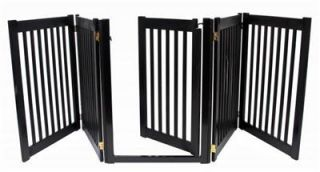 Wood Walk thru Door Dog Gate Expand to 9 ft Extra Long Fence Zig Zag Indoor Pen