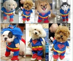 Big Hot Pet Dogs Cute Outfit Superman Costumes Clothes Summer Super Cool