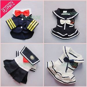 Stylish Nautical Sailor for Dog Clothes Pet Dress Shirt Costumes  ★