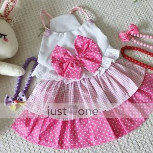 Lovely Cute Sweet Bow Girl Dog Pet Apparel Dress Clothes Costume Skirt Pink XL