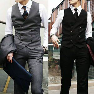 New Top Design Mens Casual Double Breasted Slim Suit Tuxedo Dress Vest Waistcoat