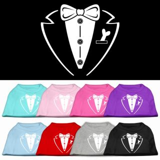 Dog Pet Puppy Groom Tuxedo Screen Tee Shirt Clothes Apparel Pajamas 9 Colors