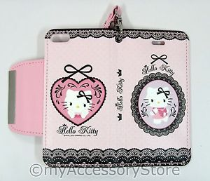 iPhone 5 Hello Kitty Cards Holder Leather Wallet Protector Cell Phone Case Cover