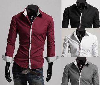 New Mens Fashion Luxury Casual Long Seelve Slim Fit Stylish Dress Shirt 5 Colors