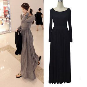 Women's Crewneck Cotton Blends Long Sleeve Pleated Maxi Dress Gray Black Casual
