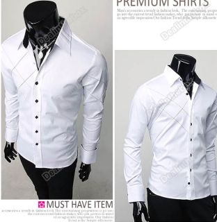 Mens Casual Slim Fit Stylish Long Sleeve Shirts Luxury Korean T Shirt Tops Dress