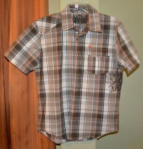 Volcom Stone Short Sleeve Brown Tan Beige Orange Casual Plaid Shirt Mens Small