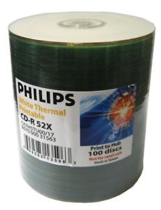 100 CDMRPHTH CD Recordable Disc Philips Thermal Top CD R 52x CDR Data Audio