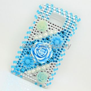 3D Blue Flower Bling Crystal Back Cover Case for Mobile Cell Phone iPhone 4G 4S