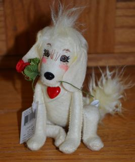 "2012 Annalee Valentine 6"" Puppy Love Golden Retriever Dog w Rose Heart Collar"