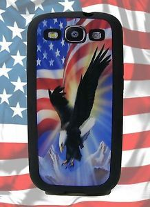 Samsung Galaxy S3 i9300 Cell Phone Rubber Case Patriotic Eagle American Flag