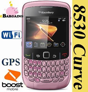 New Rim Blackberry Curve 2 8530 Pink Cell Phone Boost Mobile Smartphone WiFi