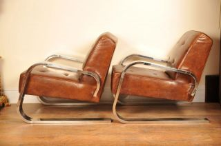 Art Deco Chrome Club Chairs Arm Chairs