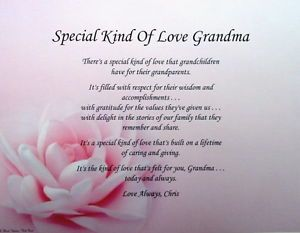 Special Kind of Love Grandma Poem Personalized Gifts Birthday Christmas Etc
