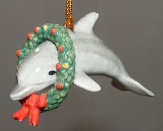 Northern Rose Porcelain Christmas Tree Ornament Dolphin with Wreath