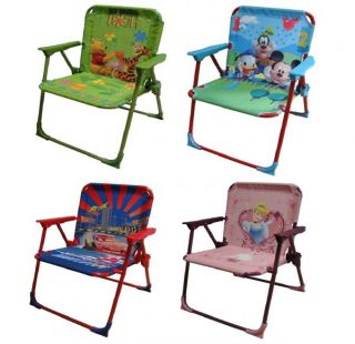 Disney Character Childrens Toddler Folding Metal Chair Kids Garden Camping Seat