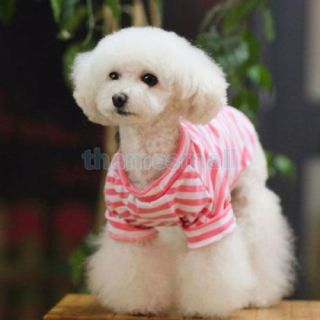 Pet Dog Pink Striped Shirt Tee T Shirt Clothes Apparel w Cute Bow Skull Size L