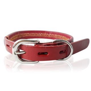 "11 14"" Genuine Real Leather Gemstone Pet Dog Collar Wine Red Small"