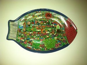 Vintage Mexican Red Clay Pottery Aztec Mural Fish Folk Art Painting Worker Field
