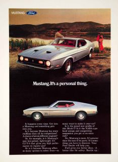 1971 Ad Ford Mustang Mach 1 2 Door Coupe Muscle Car NASA Hood Scoops Automobile