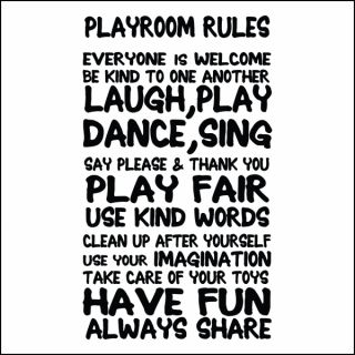 Children's Playroom Rules Wall Sticker Kids Bedroom Vinyl Wall Quote