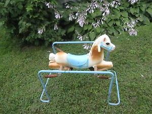 Vintage Wonder Horse Rocking Pony Children's Plastic w Metal Springs and Frame