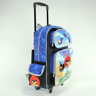"Rovio Angry Birds Scene Blue 16"" Roller Backpack Book Bag Rolling Girls Boys"