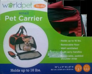 Black Worldpet to Go Small Up to 16 lbs Pet Carrier Black Dog Cat Ventilated New